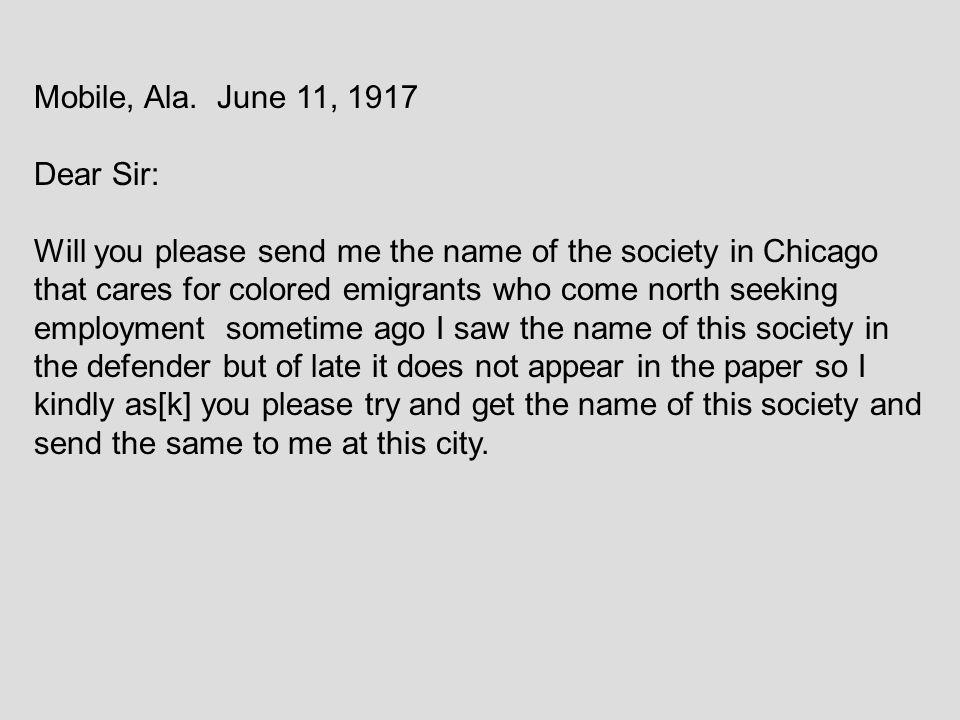 Mobile, Ala. June 11, 1917 Dear Sir: