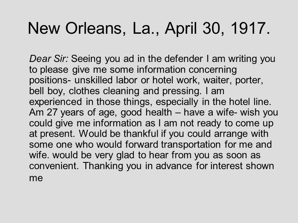 New Orleans, La., April 30, 1917.