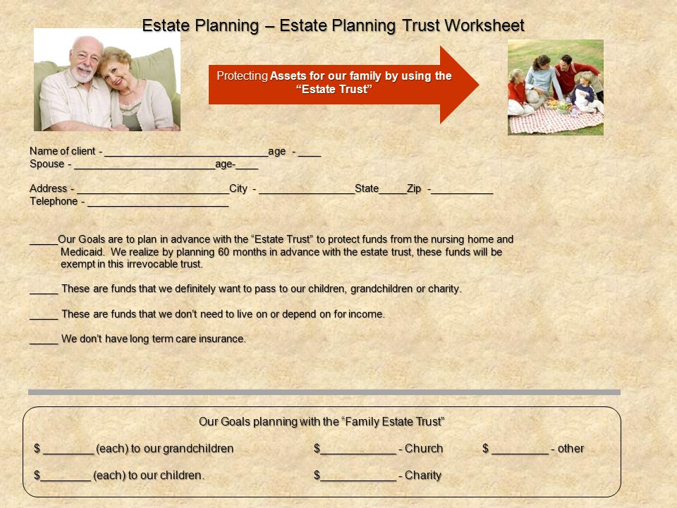 Estate Planning – Estate Planning Trust Worksheet
