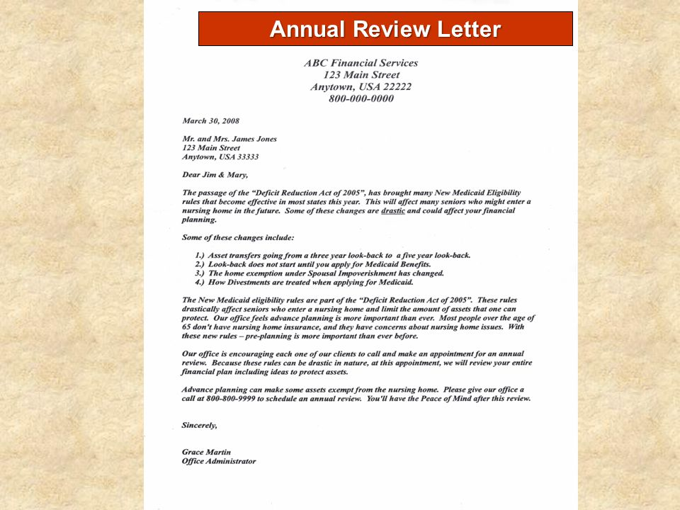 Annual Review Letter
