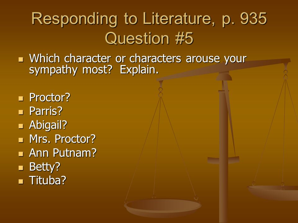 Responding to Literature, p. 935 Question #5