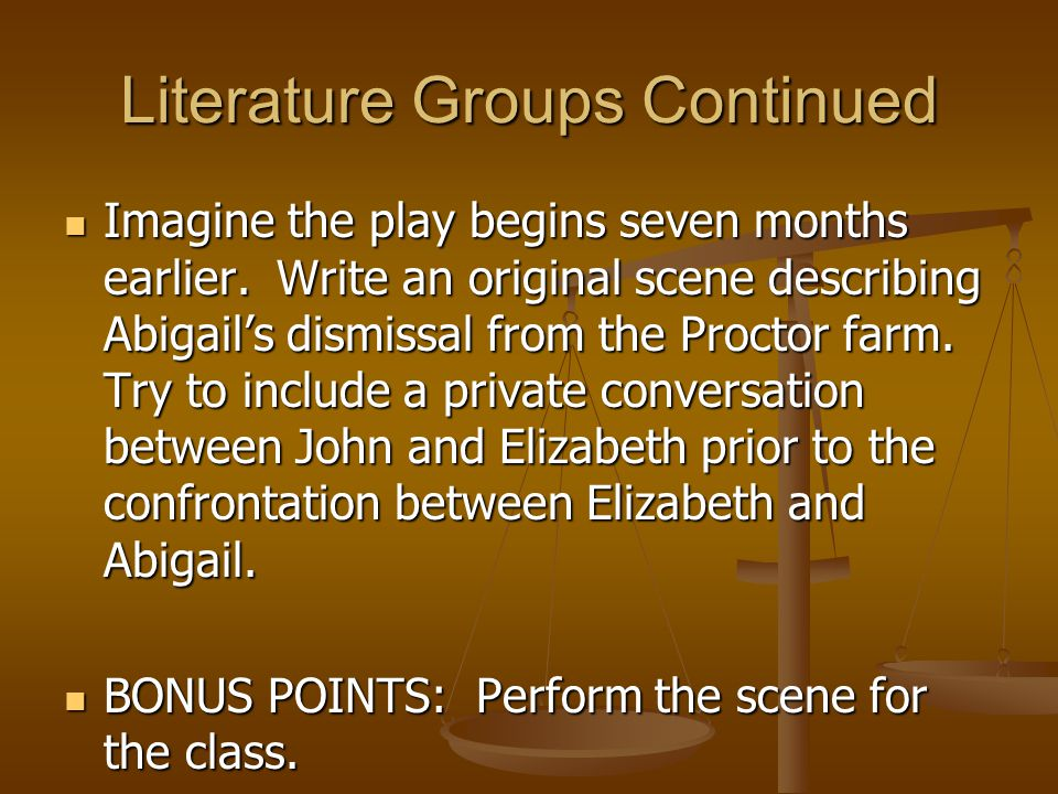 Literature Groups Continued