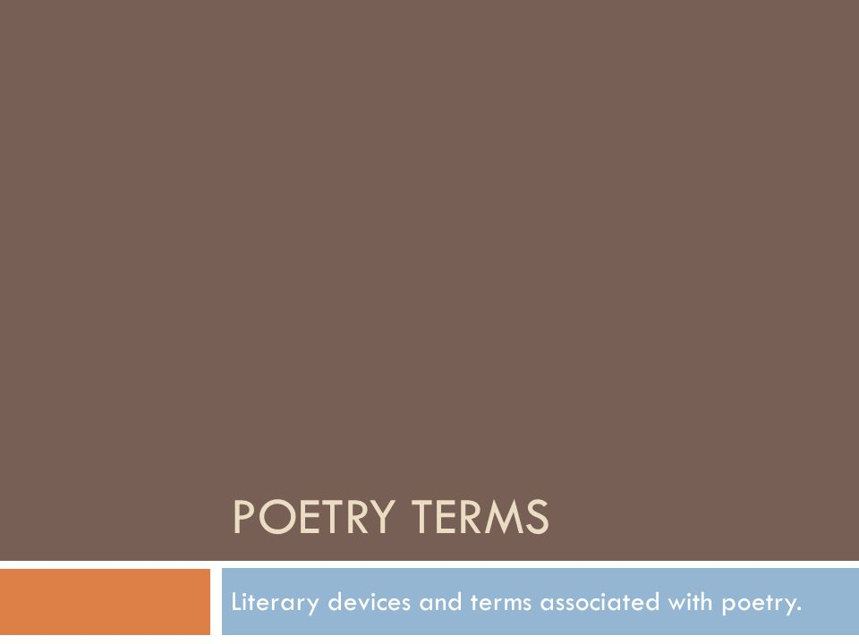Literary devices and terms associated with poetry.