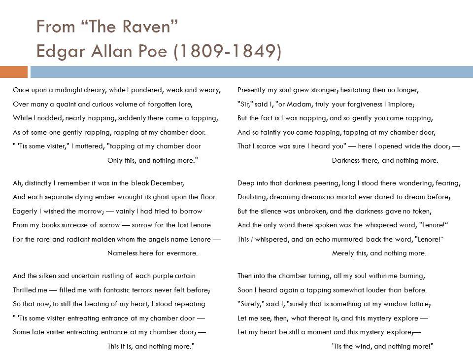 From The Raven Edgar Allan Poe (1809-1849)