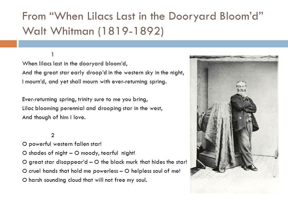 From When Lilacs Last in the Dooryard Bloom'd Walt Whitman (1819-1892)