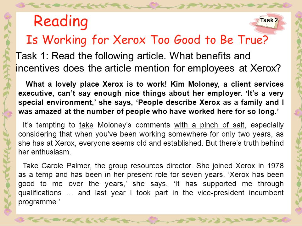 Reading Is Working for Xerox Too Good to Be True