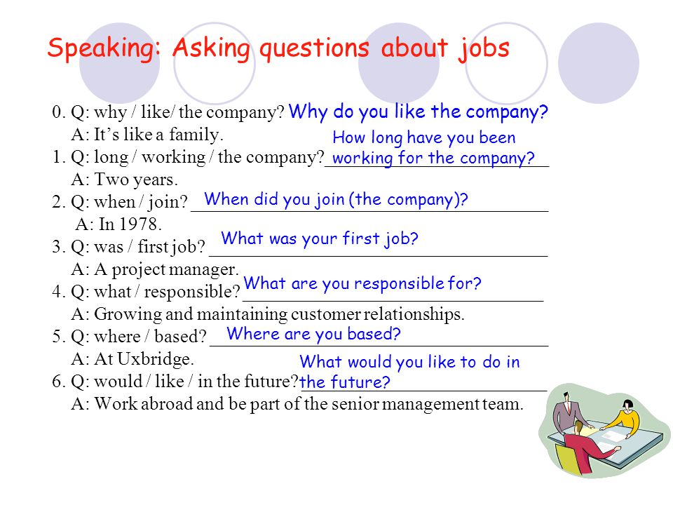 Speaking: Asking questions about jobs