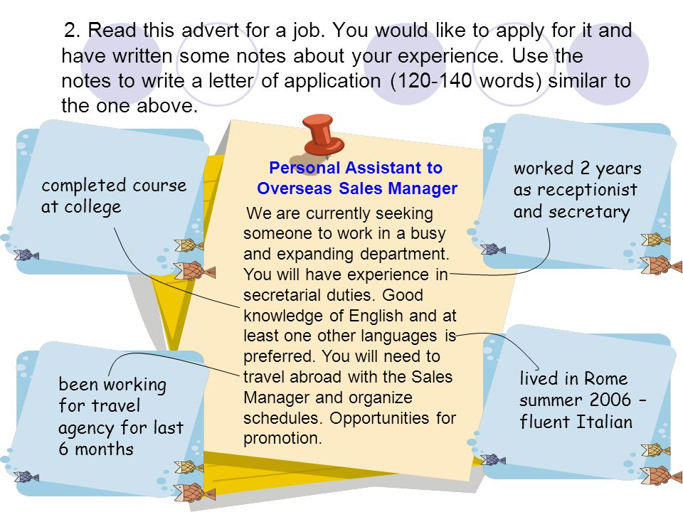 Personal Assistant to Overseas Sales Manager
