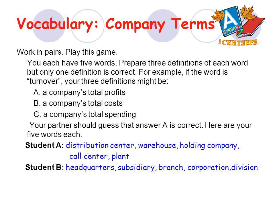 Vocabulary: Company Terms