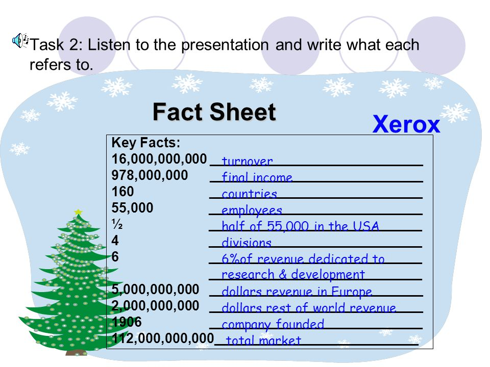 Task 2: Listen to the presentation and write what each refers to.