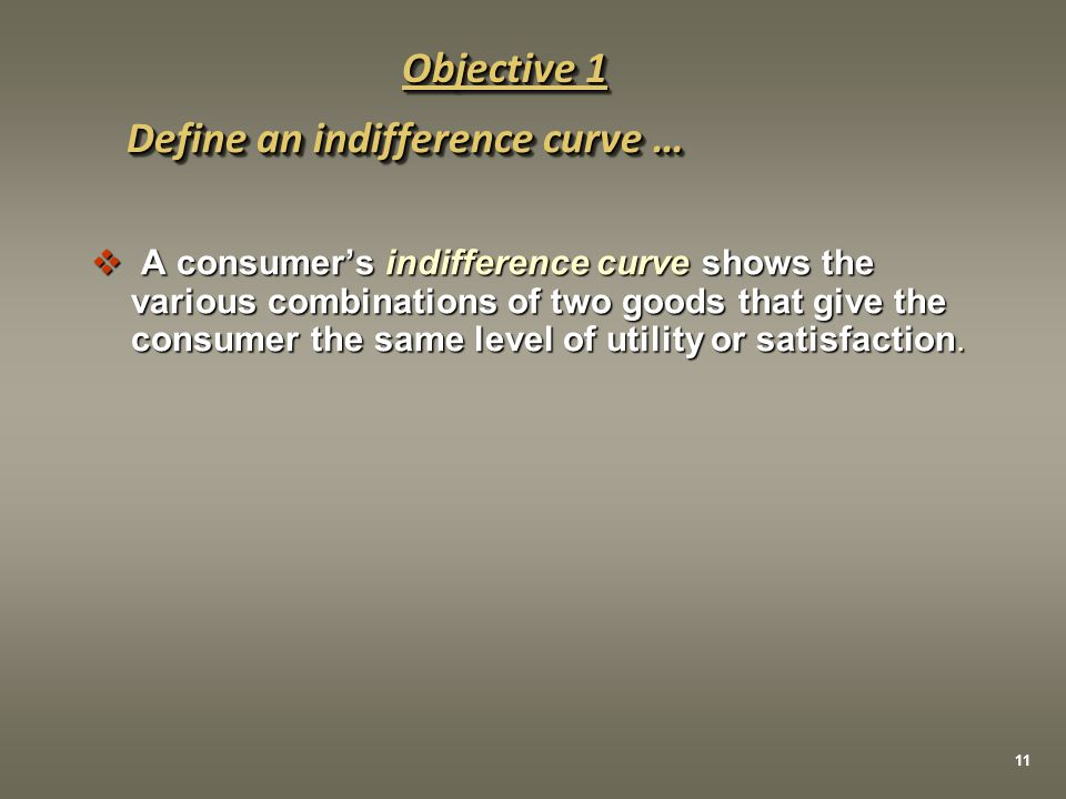 Define an indifference curve …