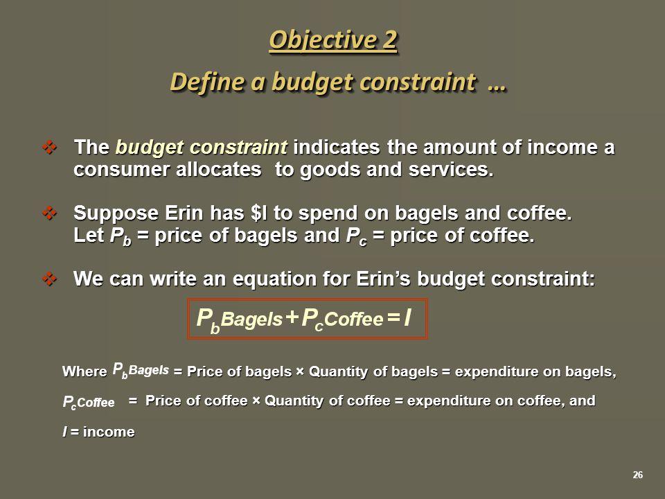 Define a budget constraint …