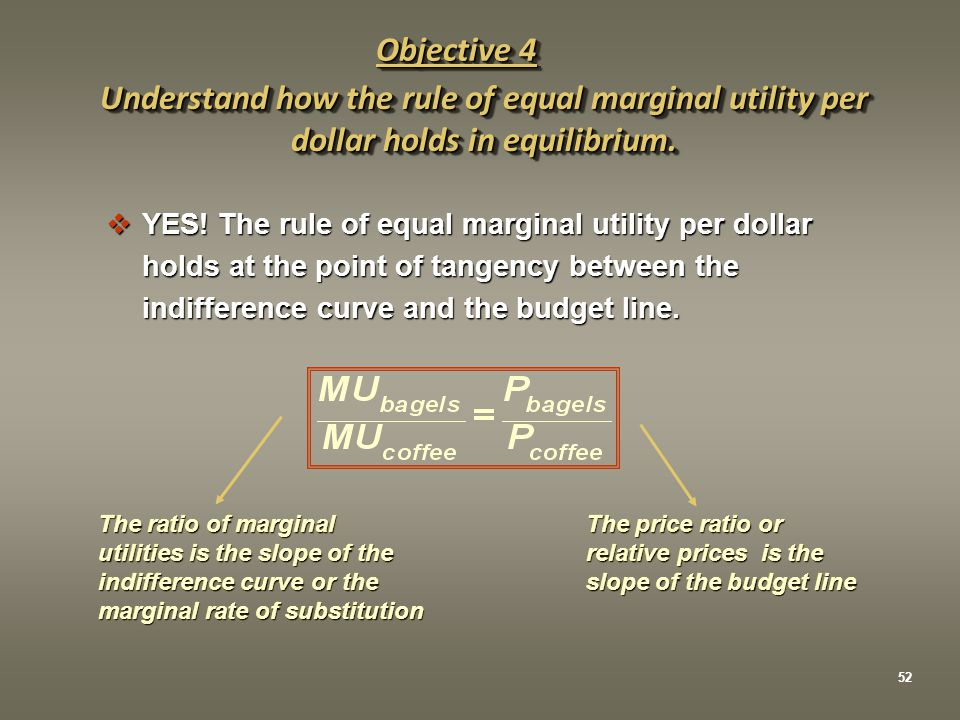 Objective 4 Understand how the rule of equal marginal utility per dollar holds in equilibrium. YES! The rule of equal marginal utility per dollar.