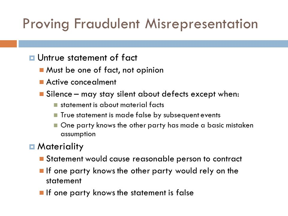 Proving Fraudulent Misrepresentation