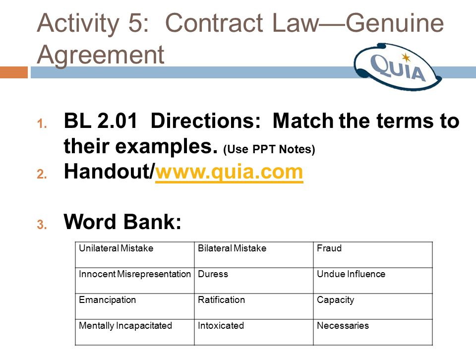 Activity 5: Contract Law—Genuine Agreement