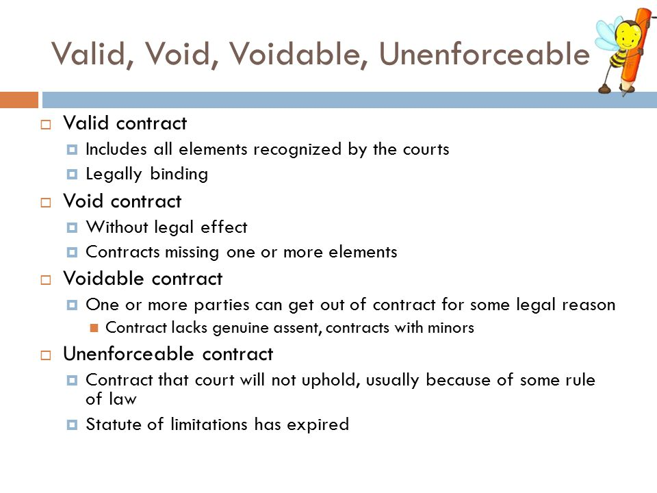 Valid, Void, Voidable, Unenforceable