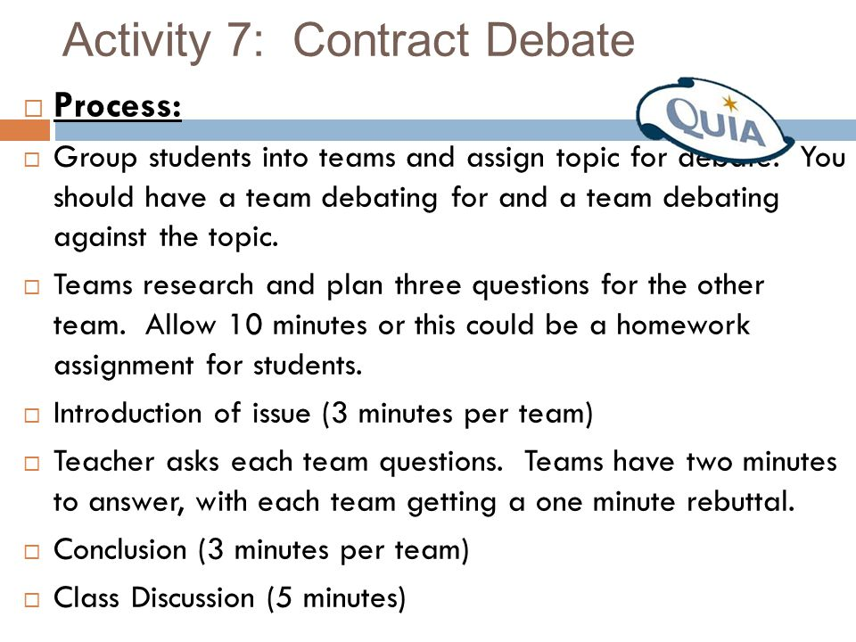 Activity 7: Contract Debate