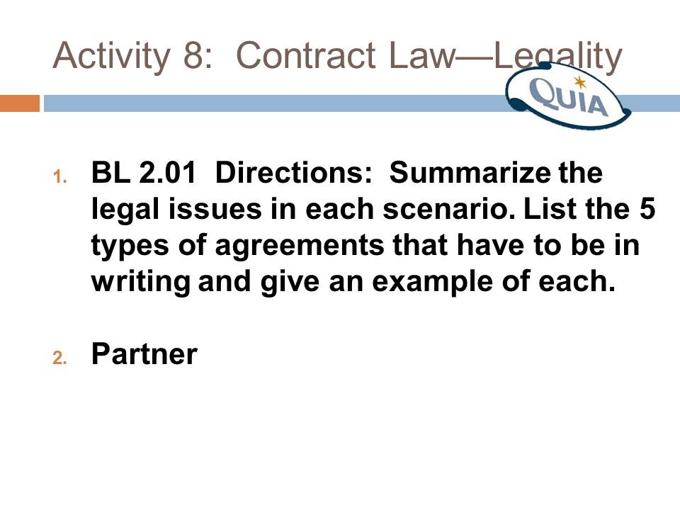Activity 8: Contract Law—Legality