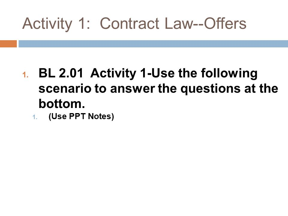 Activity 1: Contract Law--Offers