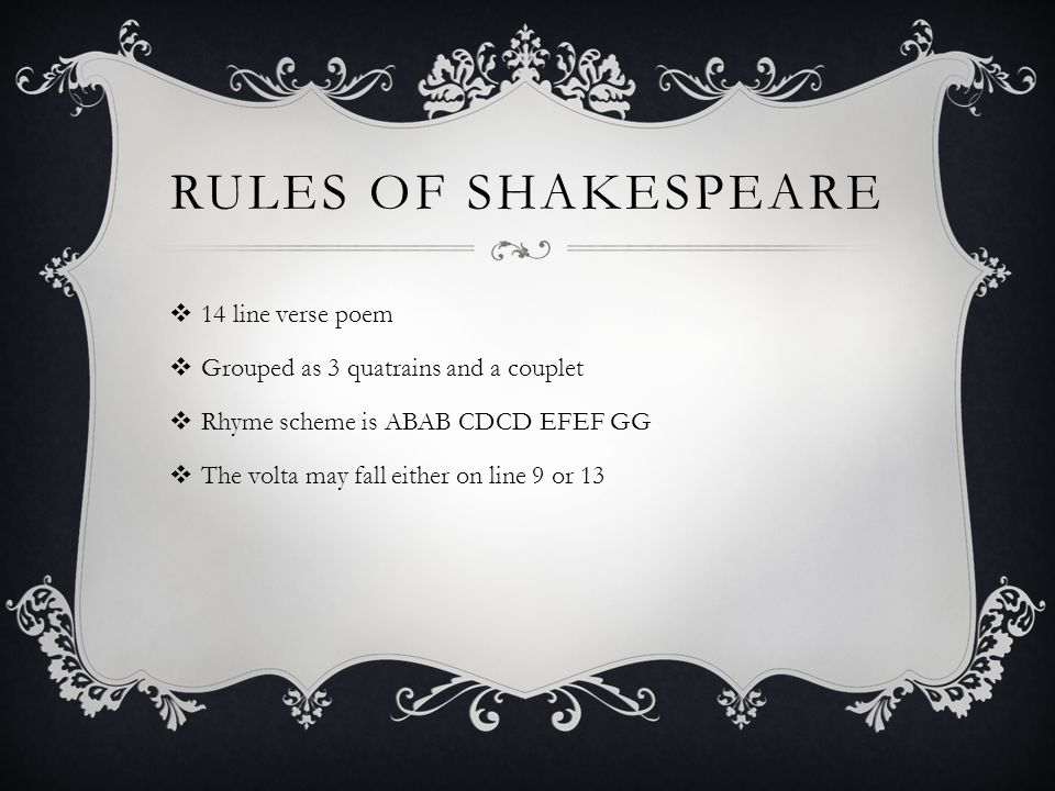 Rules of Shakespeare 14 line verse poem