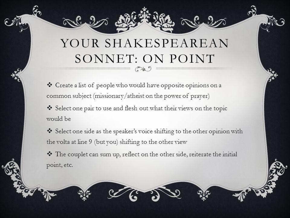 Your Shakespearean Sonnet: On Point