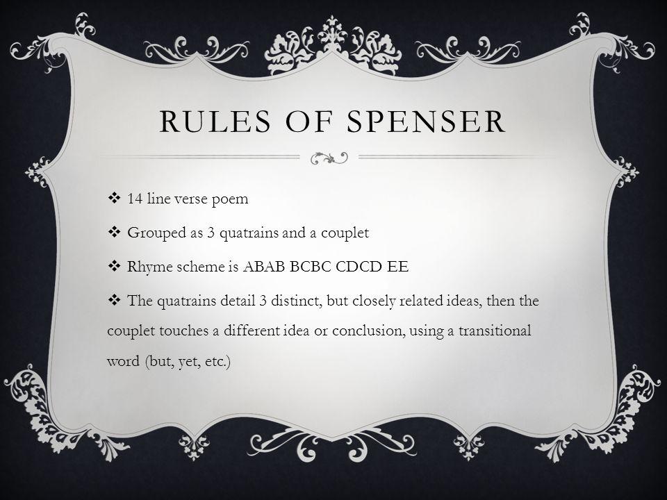 Rules of Spenser 14 line verse poem