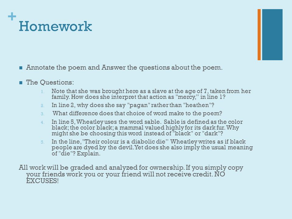 Homework Annotate the poem and Answer the questions about the poem.