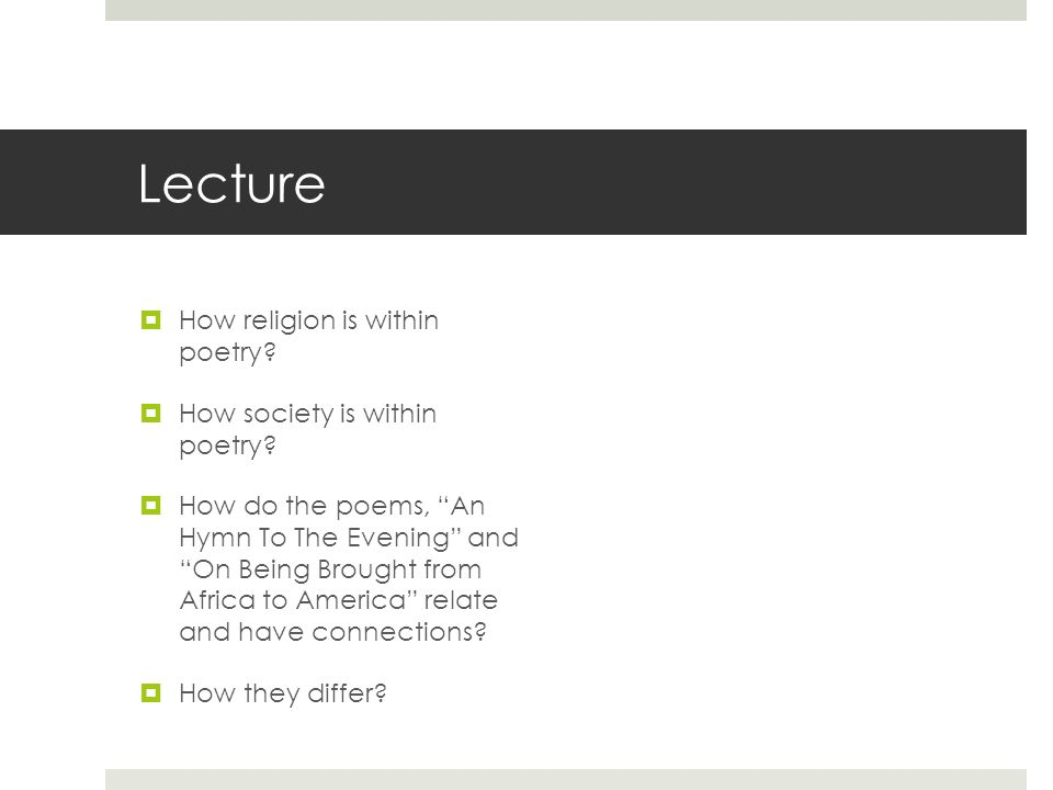 Lecture How religion is within poetry How society is within poetry
