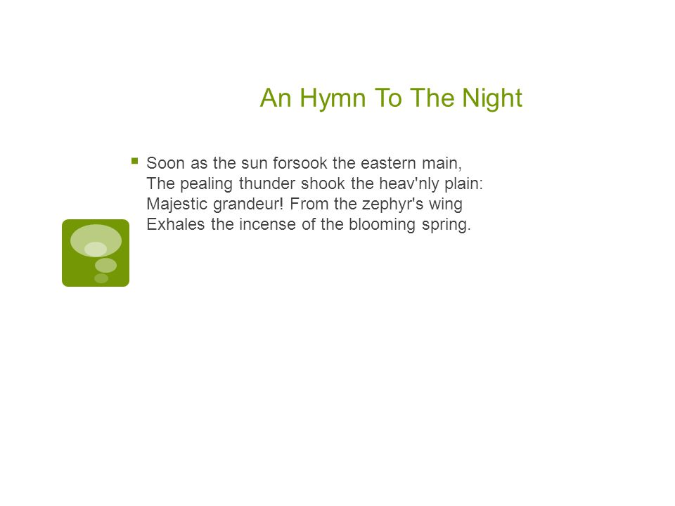 An Hymn To The Night