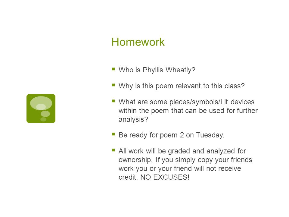 Homework Who is Phyllis Wheatly