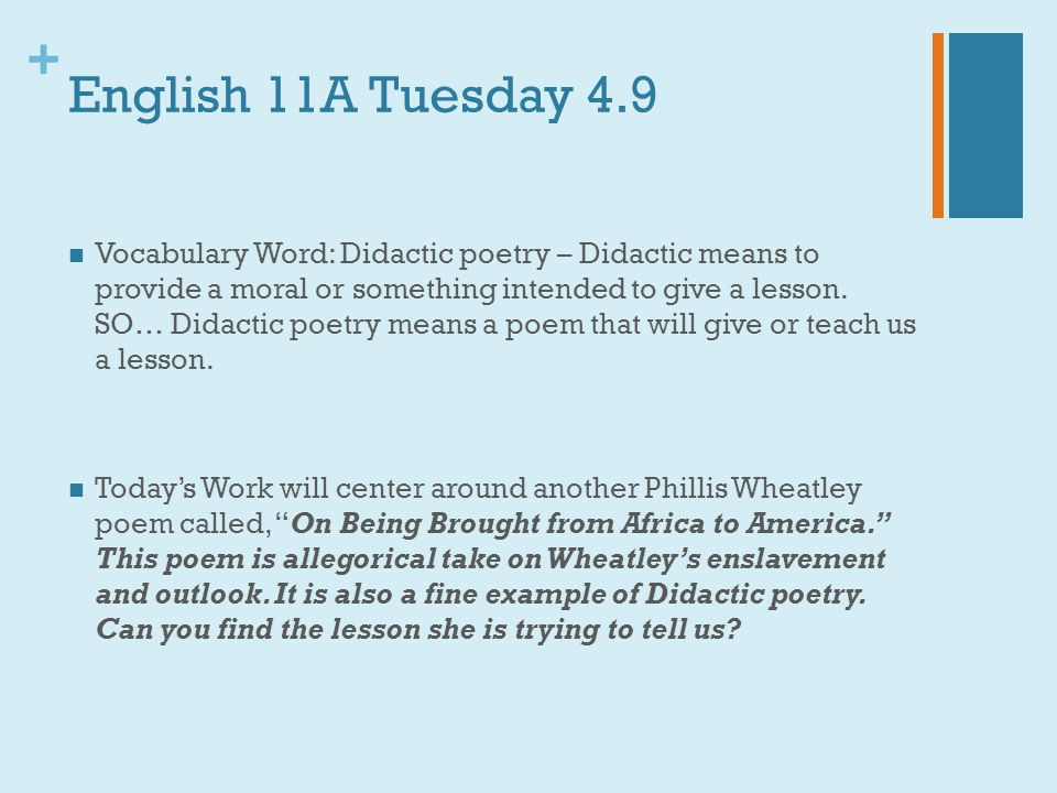 English 11A Tuesday 4.9