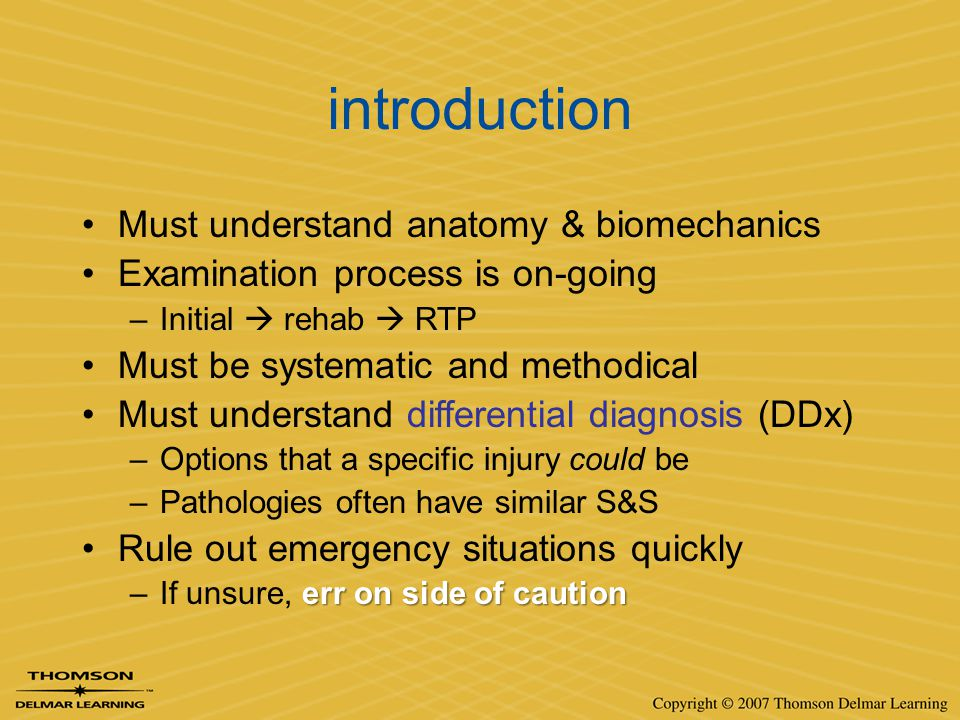 introduction Must understand anatomy & biomechanics