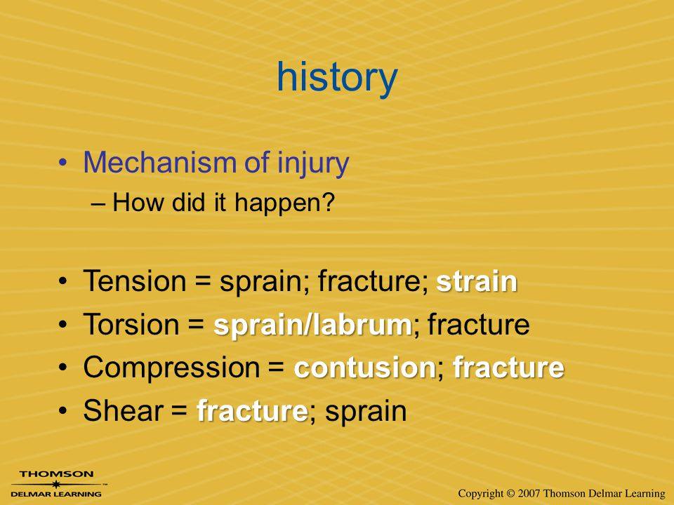 history Mechanism of injury Tension = sprain; fracture; strain