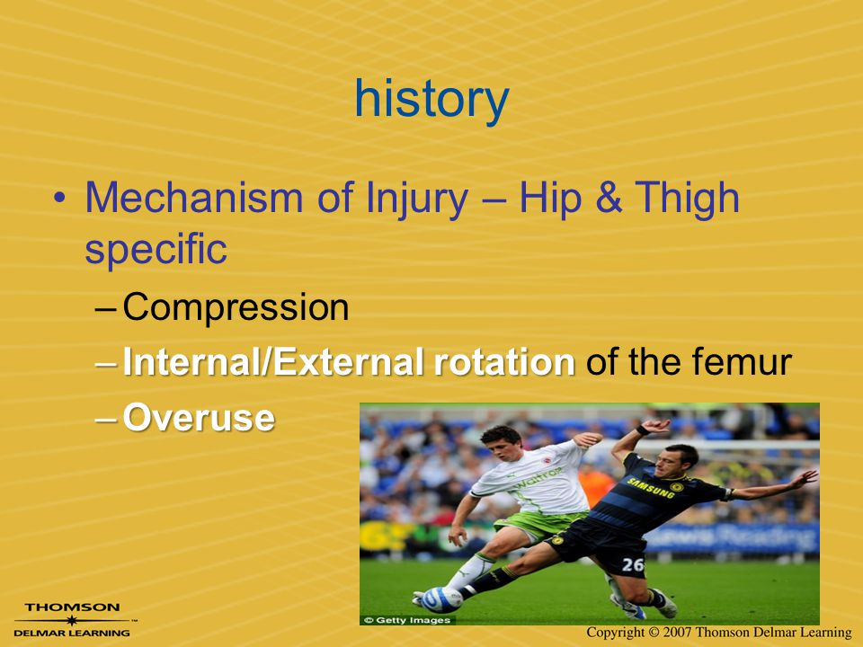 history Mechanism of Injury – Hip & Thigh specific Compression