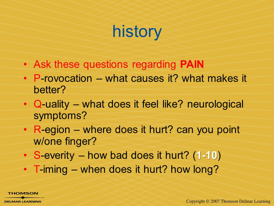 history Ask these questions regarding PAIN