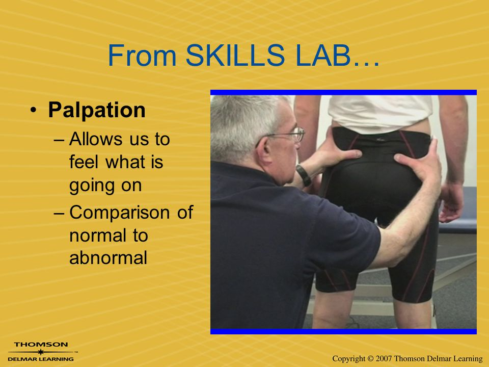 From SKILLS LAB… Palpation Allows us to feel what is going on
