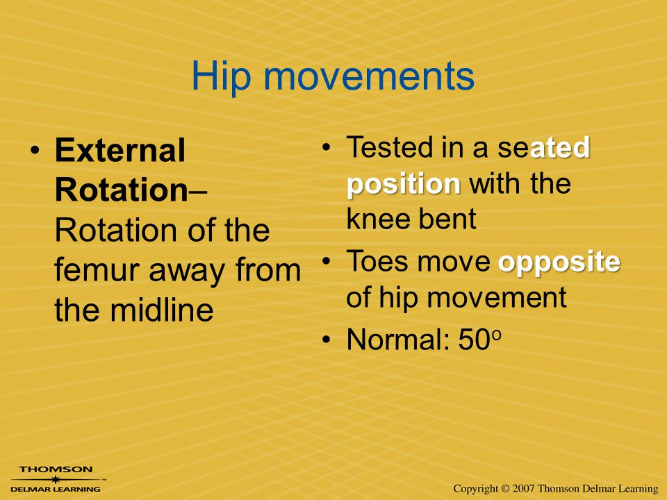 Hip movements External Rotation– Rotation of the femur away from the midline. Tested in a seated position with the knee bent.