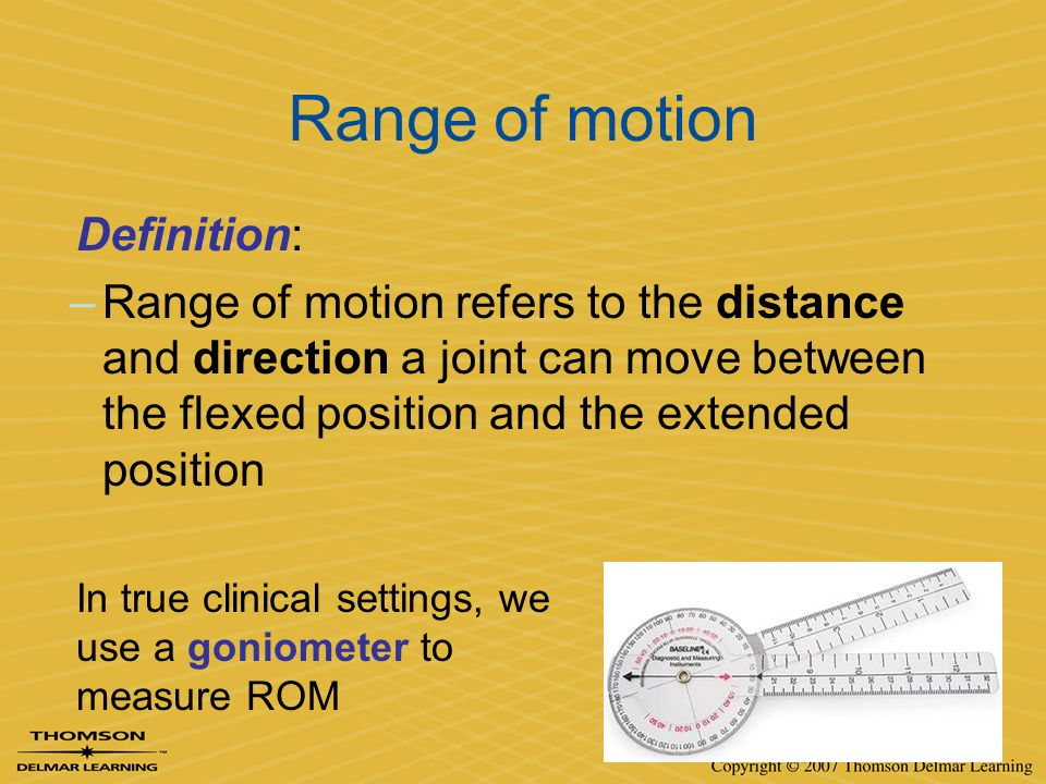 Range of motion Definition: