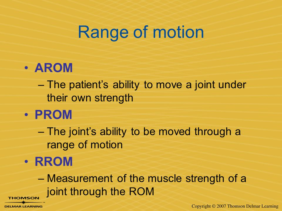 Range of motion AROM PROM RROM