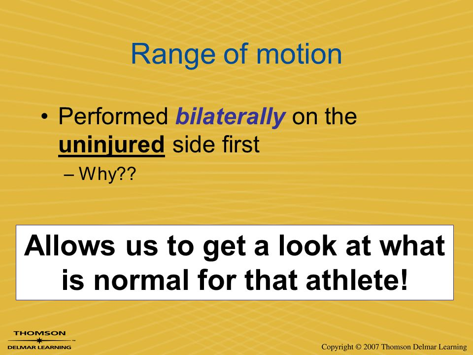 Allows us to get a look at what is normal for that athlete!