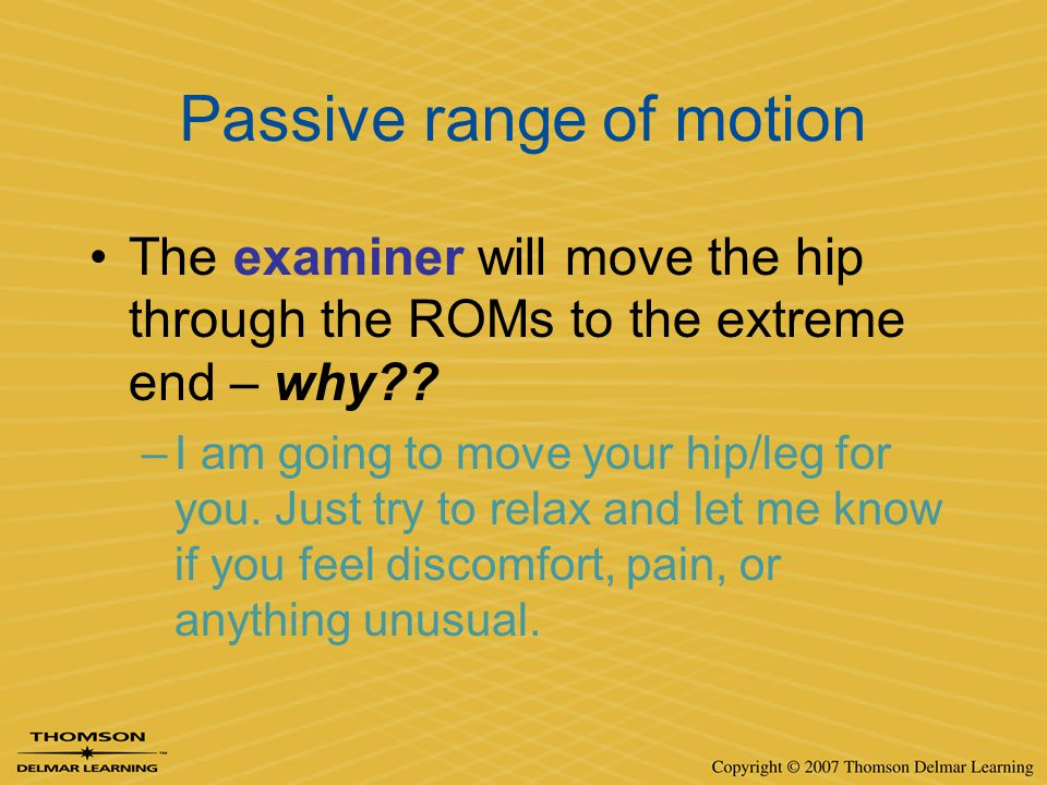 Passive range of motion