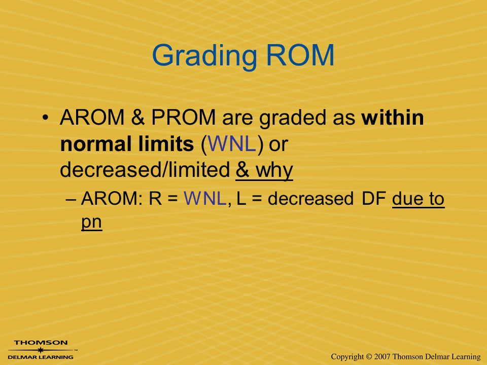 Grading ROM AROM & PROM are graded as within normal limits (WNL) or decreased/limited & why.