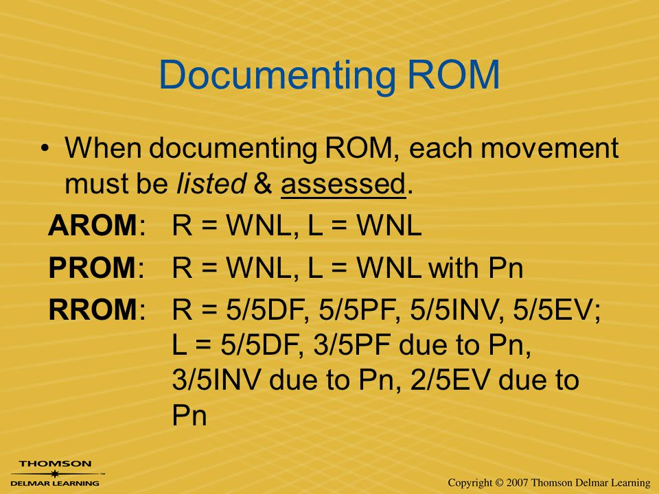 Documenting ROM When documenting ROM, each movement must be listed & assessed. AROM: R = WNL, L = WNL.