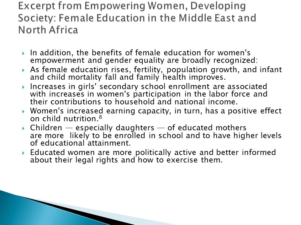 Excerpt from Empowering Women, Developing Society: Female Education in the Middle East and North Africa