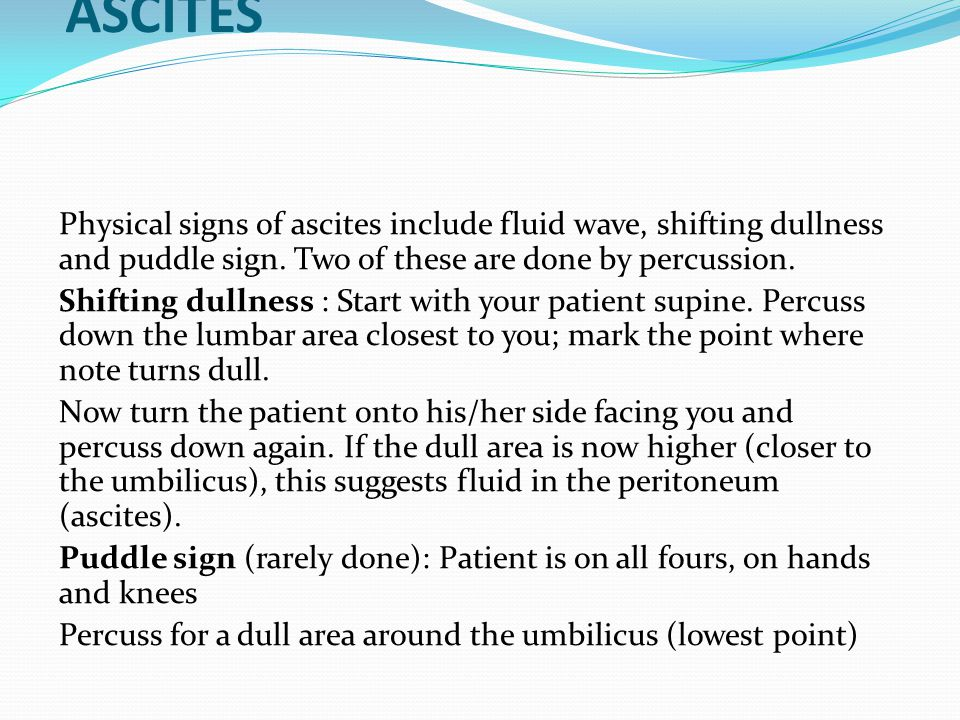 USING PERCUSSION to DIAGNOSE ASCITES