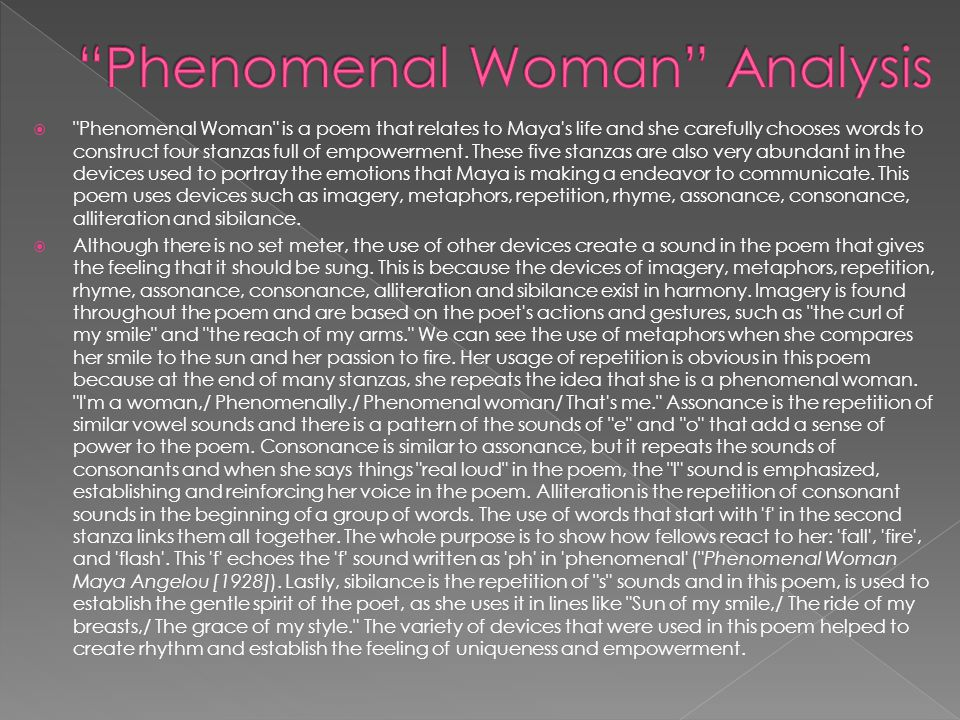 Essay on the poem phenomenal woman