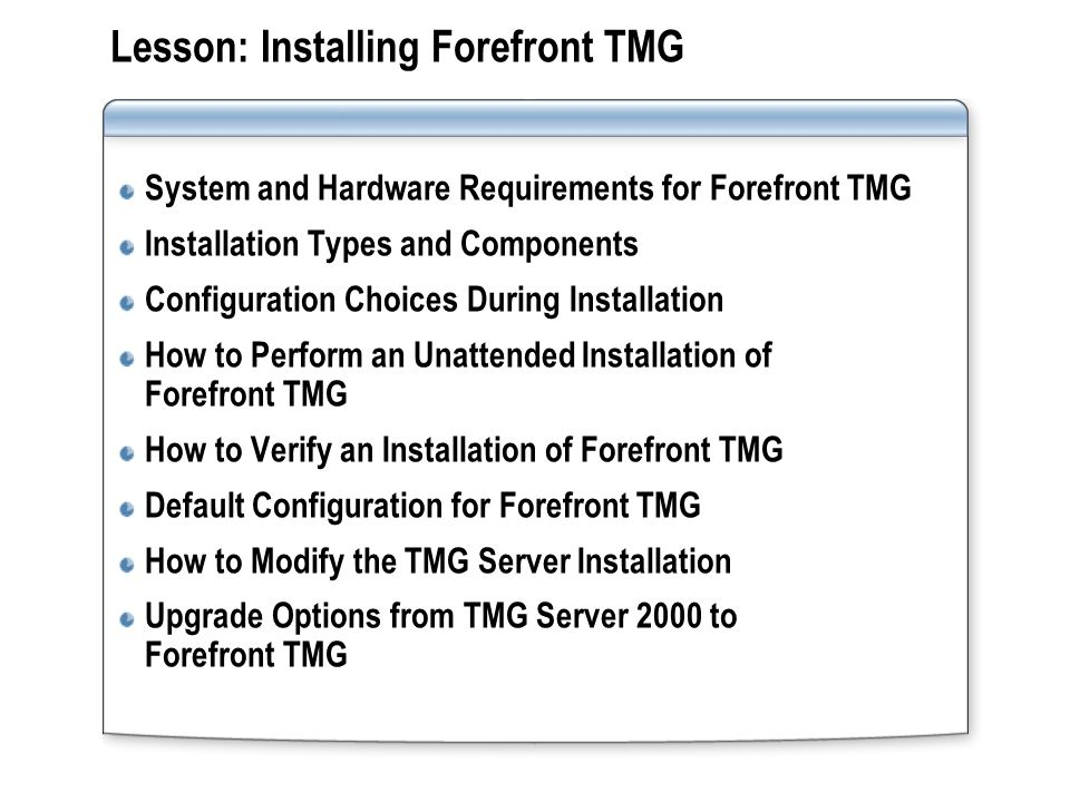 Lesson: Installing Forefront TMG