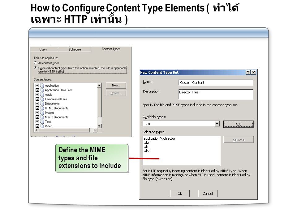 How to Configure Content Type Elements ( ทำได้เฉพาะ HTTP เท่านั้น )