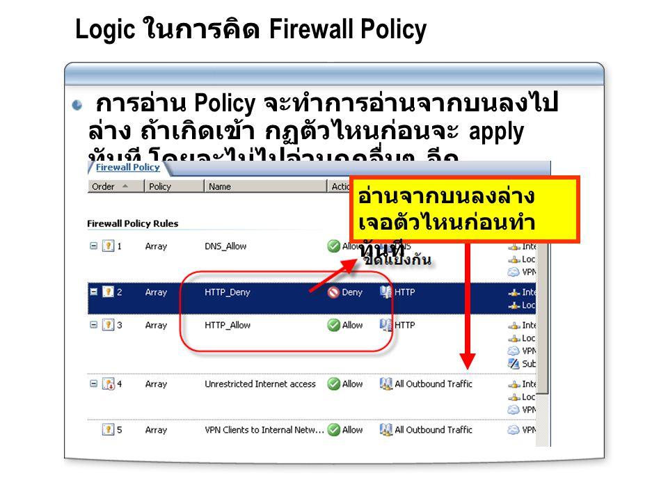 Logic ในการคิด Firewall Policy