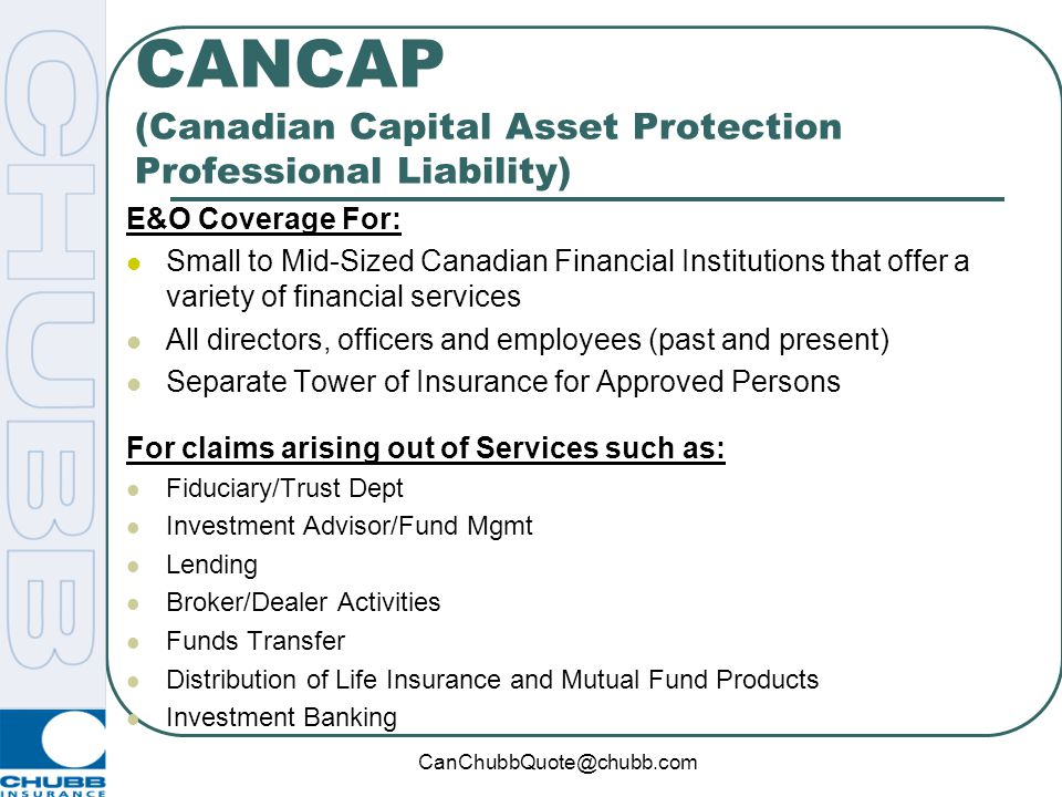 CANCAP (Canadian Capital Asset Protection Professional Liability)